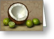 Still Life Greeting Cards - Coconut and Key Limes Greeting Card by Clinton Hobart