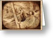 Drawing Pyrography Greeting Cards - Coconut Plucking Greeting Card by Conrad  Pinto