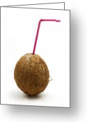 Macro Greeting Cards - Coconut with a straw Greeting Card by Fabrizio Troiani