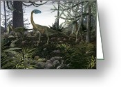 Dinosaurs Greeting Cards - Coelophysis Dinosaurs, Artwork Greeting Card by Walter Myers
