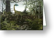 Theropod Greeting Cards - Coelophysis Dinosaurs Walk Amongst Greeting Card by Walter Myers