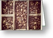 Background Greeting Cards - Coffe beans Greeting Card by Isabel Poulin