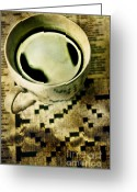 Puzzle Greeting Cards - Coffee and Crossword  Greeting Card by HD Connelly