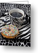 Donuts Greeting Cards - Coffee and donut on striped plate Greeting Card by Garry Gay
