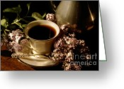 Food And Beverage Art Greeting Cards - Coffee and Lilacs In The Morning Greeting Card by Lois Bryan