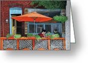 Montreal Summer Scenes Greeting Cards - Coffee at Nu Art Cafe Verdun Greeting Card by Reb Frost