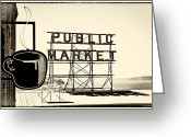 Donuts Greeting Cards - Coffee at the Market II Greeting Card by David Patterson
