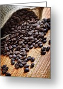 Bag Greeting Cards - Coffee beans Greeting Card by Elena Elisseeva