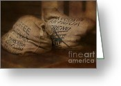 Digitally Enhanced Greeting Cards - Coffee Beans in Burlap Bags Greeting Card by Susan Candelario