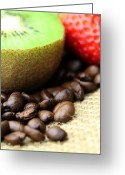 Dekoration Greeting Cards - Coffee beans Kivi Strawberry Greeting Card by Falko Follert