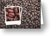 Mocha Greeting Cards - Coffee beans polaroid Greeting Card by Jane Rix