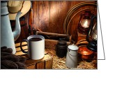 Ranch Greeting Cards - Coffee Break at the Chuck Wagon Greeting Card by Olivier Le Queinec