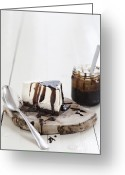 Serving Piece Greeting Cards - Coffee Cheesecake With Caramel Sauce Greeting Card by Cultura/Line Klein