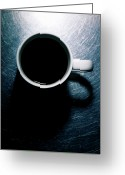 Directly Above Greeting Cards - Coffee Cup On Stainless Steel. Greeting Card by Ballyscanlon