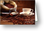 Coffee Beans Greeting Cards - Coffee cup with burlap sack of roasted beans  Greeting Card by Sandra Cunningham