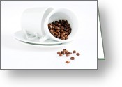 Mocha Greeting Cards - Coffee cups and coffee beans  Greeting Card by Ulrich Schade