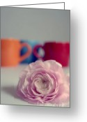 Ranunculus Photo Greeting Cards - Coffee Cups and Ranunculus Greeting Card by Kristin Kreet