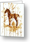 Most Greeting Cards - Coffee foal Greeting Card by Zaira Dzhaubaeva
