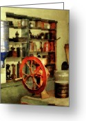 Grinders Greeting Cards - Coffee Grinder And Canister Of Sugar Greeting Card by Susan Savad