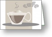 Coffee Drawings Greeting Cards - Coffee Greeting Card by HD Connelly