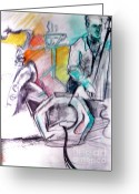 Live Art Mixed Media Greeting Cards - Coffee House Jazz Greeting Card by Jamey Balester
