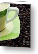 Coffee Beans Greeting Cards - Coffee Greeting Card by Kristin Kreet