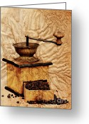 Appliances Greeting Cards - Coffee Mill And Beans In Grunge Style Greeting Card by Michal Boubin
