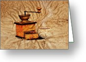 Appliances Greeting Cards - Coffee Mill And Beans Greeting Card by Michal Boubin