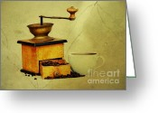 Grungy Greeting Cards - Coffee Mill And Cup Of Hot Black Coffee Greeting Card by Michal Boubin