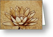 Coffe Greeting Cards - Coffee painting Water Lilly Blooming Greeting Card by Georgeta  Blanaru