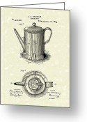 Coffee Drawings Greeting Cards - Coffee Pot 1889 Patent Art  Greeting Card by Prior Art Design
