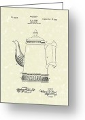 Coffee Drawings Greeting Cards - Coffee Pot Design 1899 Patent Art Greeting Card by Prior Art Design