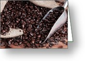 Overflowing Greeting Cards - Coffee sack with scoop and beans. Greeting Card by Richard Thomas