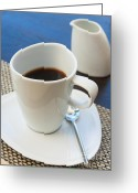 Mocha Greeting Cards - Coffee Sir Greeting Card by Atiketta Sangasaeng