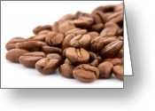 Background Greeting Cards - Coffeebeans as background Greeting Card by David Harrysson