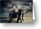 Elephant Ride Greeting Cards - Cognate Greeting Card by Jennifer Gelinas