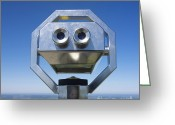 Telescope Greeting Cards - Coin-operated binoculars Greeting Card by Bernard Jaubert