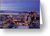 San Francisco Greeting Cards - Coit Tower And North Beach At Dusk Greeting Card by Photo by Brandon Doran