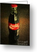 Coke Greeting Cards - Coke Bottle Greeting Card by Wingsdomain Art and Photography