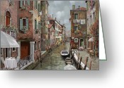 Canal Greeting Cards - colazione a Venezia Greeting Card by Guido Borelli
