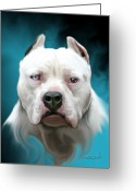 Dog Portrait Digital Art Greeting Cards - Cold as Ice- Pit Bull by Spano Greeting Card by Michael Spano