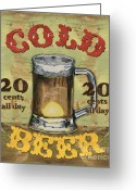 Gold Painting Greeting Cards - Cold Beer Greeting Card by Debbie DeWitt