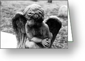 Angel Statue Greeting Cards - Cold Greeting Card by John Rizzuto