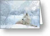 Wolves Mixed Media Greeting Cards - Cold Longings Greeting Card by Bill Stephens