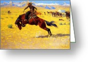 Remington Greeting Cards - Cold Morning on the Range Greeting Card by Pg Reproductions