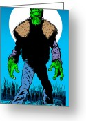 Monster Art Greeting Cards - Cold Night Air Greeting Card by Ben Von Strawn