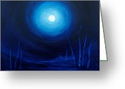 Bare Trees Painting Greeting Cards - Cold Orb Greeting Card by Michelle Wiarda
