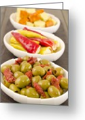 Wooden Bowls Greeting Cards - Cold Tapas - Spanish style antipasti. Greeting Card by Paul Brighton