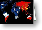 Australia Map Greeting Cards - Cold War Map Greeting Card by Stefan Kuhn