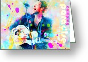 Concert Painting Greeting Cards - Coldplay Paradise Greeting Card by Rosalina Atanasova